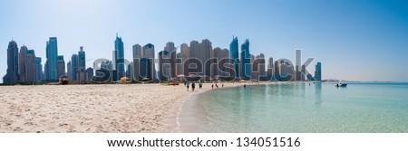 panoramic view of a Jumeirah beach - stock photo