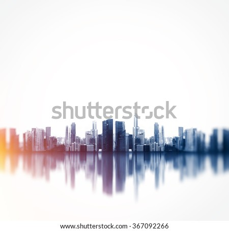 Panoramic view of a megalopolis with reflection. Square - stock photo
