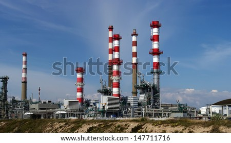 Panoramic view of a petro- chemical refinery. - stock photo