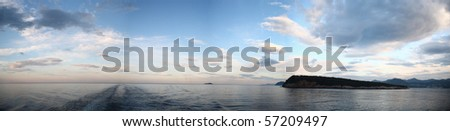 Panoramic view of a sea in morning - stock photo