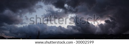 Panoramic view of a sky above ocean before storm - stock photo