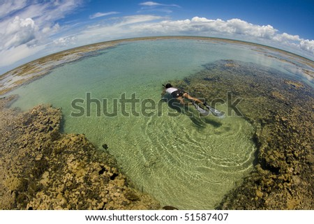 panoramic view of a tide pool on the top of a coral reef in low tide - stock photo