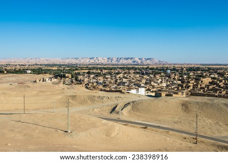 Panoramic view of Al Qasr, old village in Dakhla Desert, Egypt - stock photo