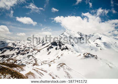 Panoramic view of Alps mountains and Grossglockner High-Alpine Road, Austria.  - stock photo