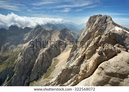 panoramic view of an alpine mountain range  - stock photo