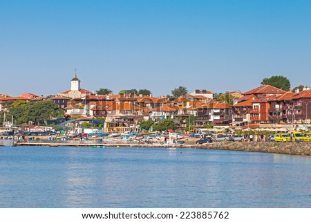 Panoramic view of ancient town on the coast of Black Sea. Nessebar, Bulgaria   - stock photo