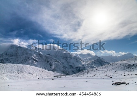 Panoramic view of Annapurna 3 III, Ganggapurna and Khangsar Kang, Annapurna range from Ice Lake with sun, way to Thorung La pass, Annapurna circuit trek, Nepal