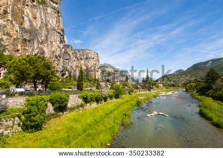 Panoramic view of Arco (Trentino, North-Italy), famous for the rock climbing competition Rock Master . - stock photo