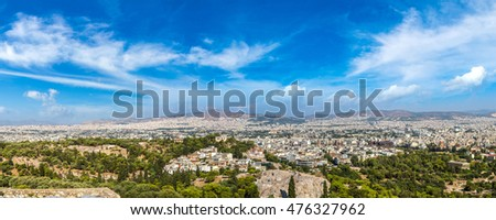 Panoramic view of Athens, Greece, from the Acropolis in a summer day