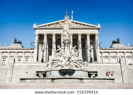 Panoramic view of Austrian parliament building with famous Pallas Athena fountain in Vienna, Austria