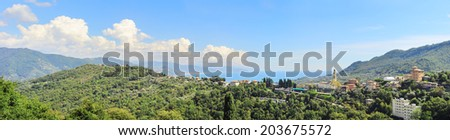 Panoramic view of Azur Coast in the sunshine day. France - stock photo