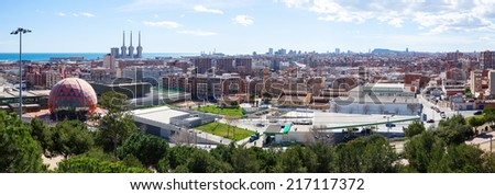 Panoramic view of Badalona and Barcelona from high point. Catalonia, Spain