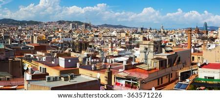 Panoramic view of Barcelona city  from Santa Maria del mar. Catalonia, Spain - stock photo