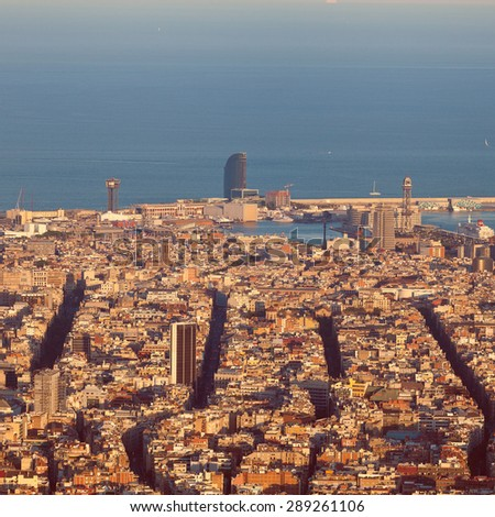 Panoramic view of Barcelona in the sunset time. Barcelona in the summer evening. Spain. Warm tone. - stock photo