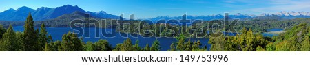Panoramic view of Bariloche and its lake, Patagonia, Argentina, South America - stock photo