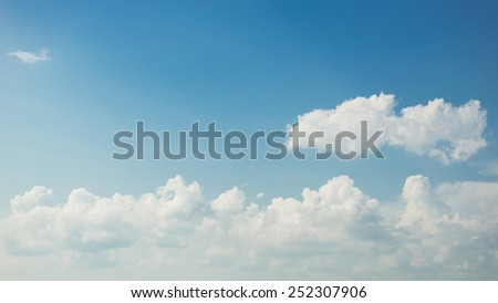 Panoramic view of beautiful blue Summer sky with white clouds. - stock photo