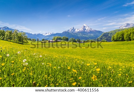 Panoramic view of beautiful landscape in the Alps with fresh green meadows and blooming flowers and snow-capped mountain tops in the background  on a sunny day with blue sky and clouds in springtime - stock photo