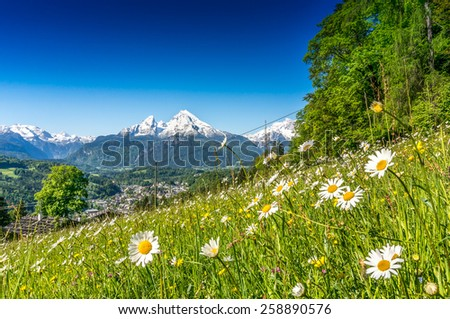 Panoramic view of beautiful landscape in the Bavarian Alps with famous Watzmann mountain in the background in springtime, Nationalpark Berchtesgadener Land, Bavaria, Germany - stock photo