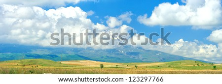 Panoramic view of beautiful scenic mountains - stock photo