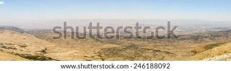 Panoramic view of Beqaa (Bekaa) Valley, Baalbeck, Lebanon - stock photo