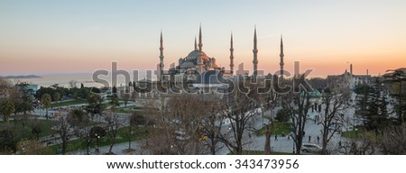Panoramic view of Blue mosque profile in Istanbul at sunset, Turkey - stock photo