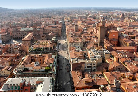Panoramic view of Bologna city, Italy - stock photo