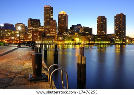 Panoramic view of Boston downtown skyline at dusk