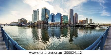 Panoramic view of Boston in Massachusetts, USA at Back Bay. - stock photo