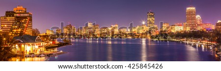 Panoramic view of Boston in Massachusetts, USA at night.