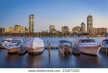 Panoramic view of Boston in Massachusetts, USA at sunset showcasing the architecture of its Financial District by the Charles River. - stock photo
