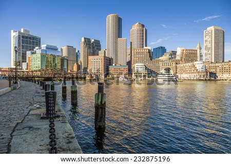 Panoramic view of Boston in Massachusetts, USA in the early morning showcasing the architecture of its financial district.