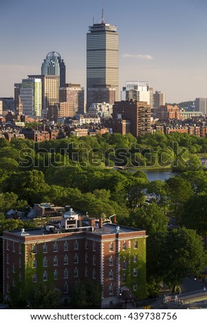 Panoramic view of Boston in Massachusetts, USA showcasing its mix of modern and historic architecture. - stock photo
