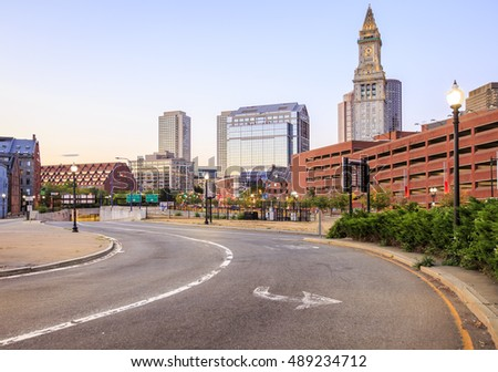 Panoramic view of Boston in Massachusetts, USA showcasing its mix of modern and historic architecture.