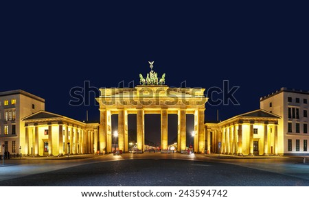 Panoramic view of Brandenburg gate (Brandenburger Tor) in Berlin, Germany at night - stock photo