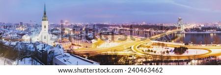 Panoramic view of Bratislava - stock photo