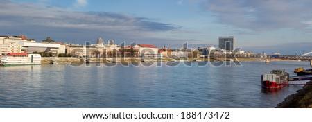 Panoramic view of Bratislava, capital of Slovakia - stock photo