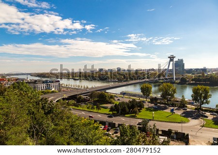 Panoramic view of Bratislava in a summer day, Slovakia - stock photo
