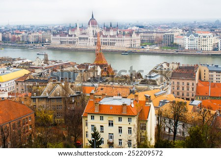 Panoramic view of Budapest and Danube river from high point - stock photo
