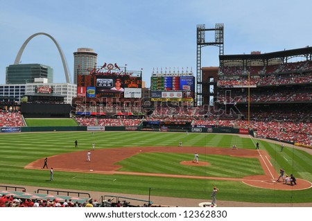 Panoramic view of Busch Stadium in Saint Louis