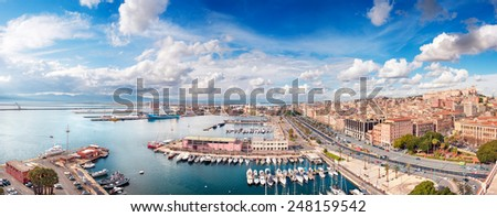 Panoramic view of Cagliari city in a beautiful sunny day - stock photo
