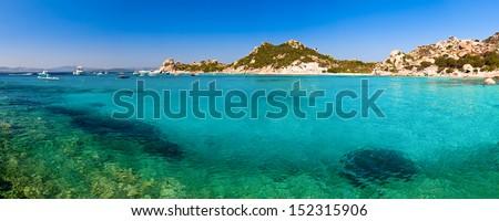 Panoramic view of Cala Corsara cove at Maddalena Archipelago in Sardinia - stock photo