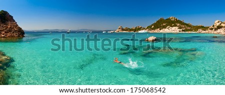 Panoramic view of Cala Corsara cove at Maddalena Archipelago in Sardinia - stock photo