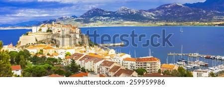 panoramic view of Calvi, Corsica - stock photo