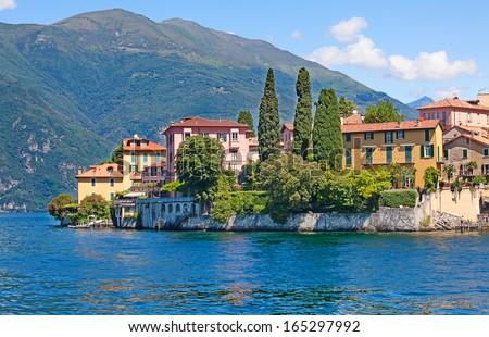 Panoramic view of Cernobbio town (Como lake, Italy) - stock photo