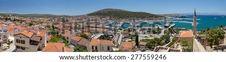 Panoramic view of Cesme from the castle, Turkey  - stock photo