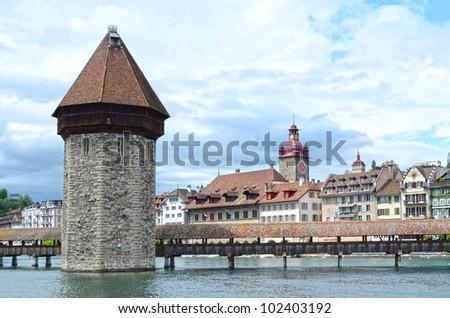 Panoramic view of Chapel Bridge, famous covered wooden bridge. Lucerne Switzerland - stock photo