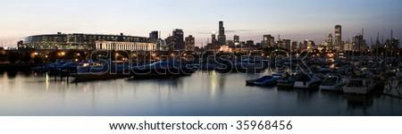 Panoramic View of Chicago from marina. - stock photo