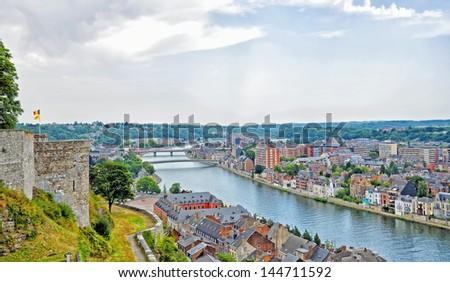 panoramic view of city Namur, Belgium - stock photo