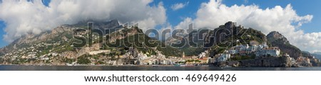 Panoramic view of city of Amalfi with coastline, Mediterranean Sea, Italy, Europe