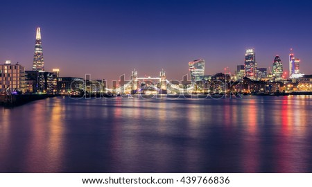 Panoramic View of City Of london at twilight in Uk. - stock photo